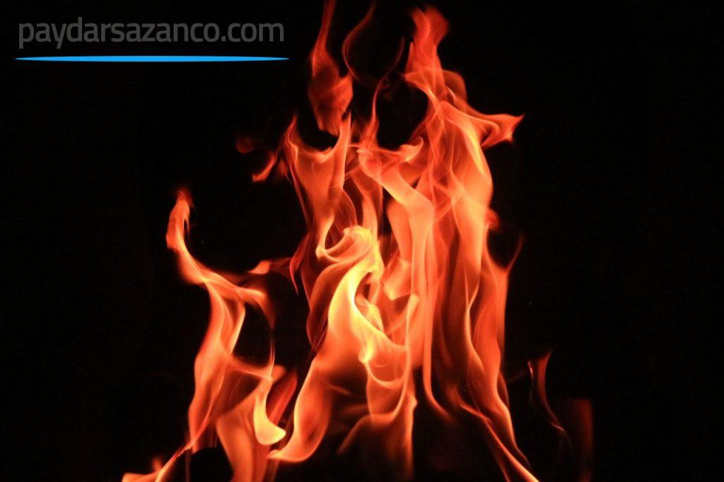 تصویری از آتش سوزی در شب